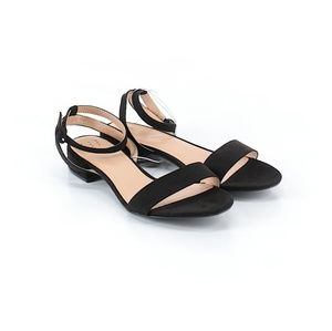 Shoes - Ankle Strap Black Velvet Block Heel Sandals